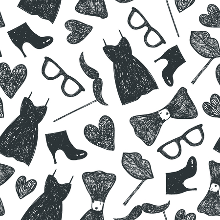 Vector hand drawn doodle seamless pattern. black and white. Women clothes and accessories, party and wedding background. Use for babric, print, wrapping, cards, etc. Dress, bow tie, glasses, moustache