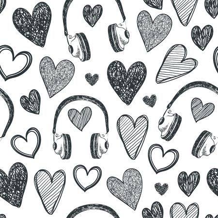 Vector hand drawn seamless pattern. Hearts, retro headphones, music background. Black and white doodle style