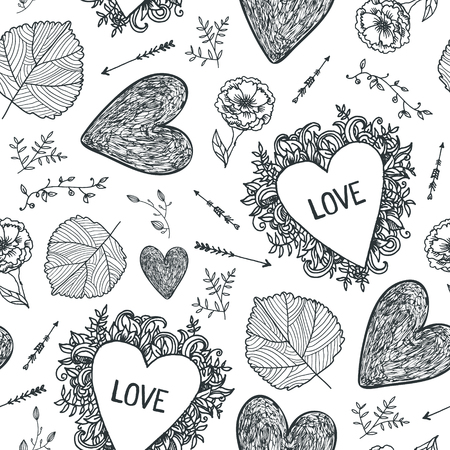 Vector hand drawn doodle seamless pattern. black and white. Use for babric, print, wrapping. Cartoon set of Love and Valentine s Day objects and symbols, wedding background