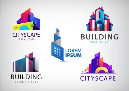 Ensemble d'images vectorielles d'icônes colorées de l'immobilier, de la ville et de l'horizon, illustrations. Bâtiment d'architecte Vecteurs