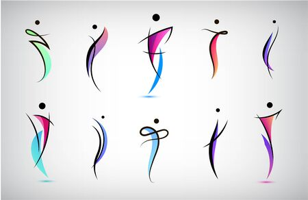 Vector set human body , people shapes, linear colorful stylized figures. Use for fitness, wellness, sport competitions, other activities identity. Healthy lifestyle, dancing icons