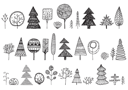 Vector set of hand drawn doodle trees. Illustration Plant icons Forest concept elements. Isolated silhouette nature symbols collection.