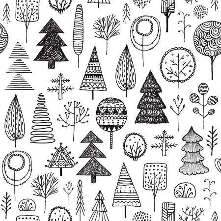 Vector Seamless linear texture with ornamental trees. Endless hand drawn black and white pattern. Template for design textile, backgrounds, packages, wrapping paper