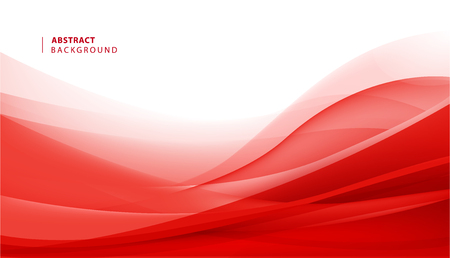 Vector abstract red wavy background. Curve flow motion illustration