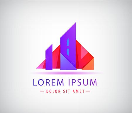 Plantilla de logotipo de bienes raíces. Concepto de ciudad de origami, edificio Logos