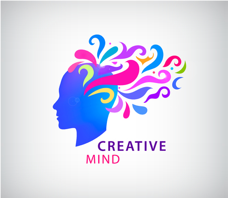 Vector human head logo concept illustration. Learning icon. Creative mind, imagination, idea, brainstorming, brain. psychology