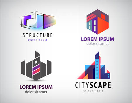 Vector Set of multicolored real estate logo designs for business visual identity, building, cityscape icons, houses, architecture construction