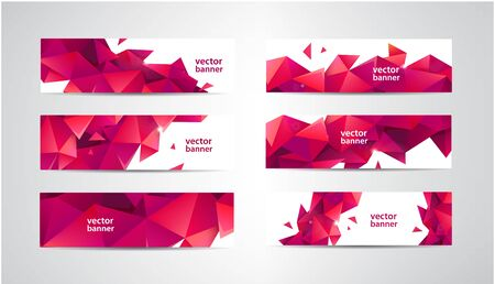 Vector Set of banners with polygonal geometric