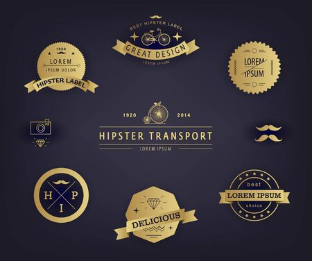 Vector Set of Premium Quality and Guarantee Labels with retro vintage styled design. Hipster elements, signs, identity, labels, badges, logotypes, stickers and stamps