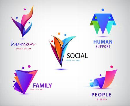Ensemble vectoriel d'hommes, groupe de personnes, logos familiaux. Collection de logos d'adoption d'enfants et fondations caritatives