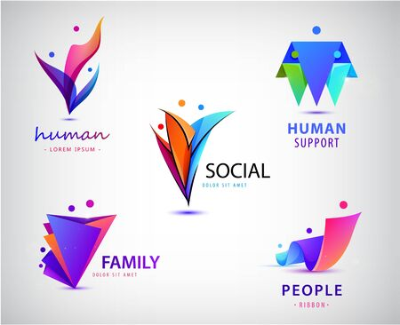 Vector set of men, people group, family logos. Child adoption logo collection and charitable foundations 免版税图像 - 130556732