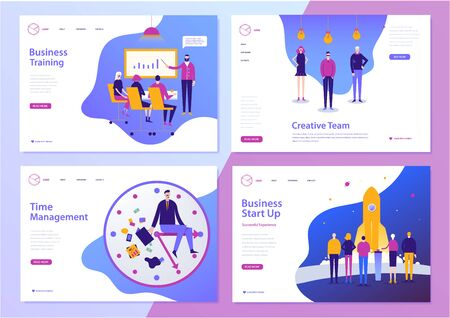 Vector set of web page design templates for business, finance and marketing. Ilustração