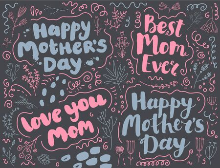 Vector hand drawn lettering happy mothers day text set, brush pen style.