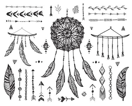Vector decor set, collection of hand drawn doodle boho style dividers