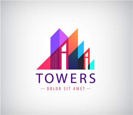 Vector building, towers up geometric logo