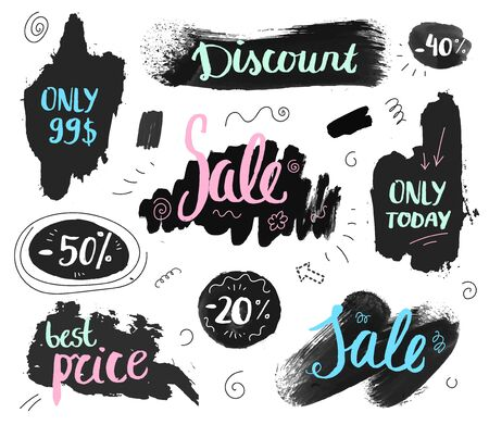 Vector set of hand drawn grunge sale banners, doodle brush lettering promotion banners Stock Illustratie