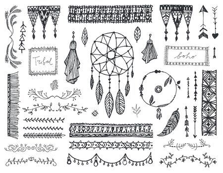 Vector decor set, collection of hand drawn doodle boho style