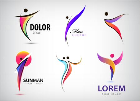 Vector abstract man logos set. Positive, healhy lifestyle, wavy human 3d icon. people shapes, linear colorful stylized figures. Use for fitness