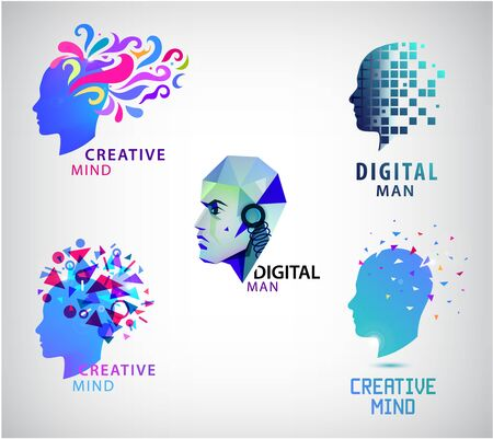 Vector set of human head, creative mind, think logos.