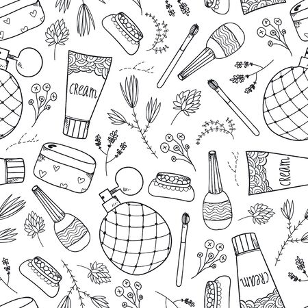 Vector seamless beauty, cosmetics doodle pattern.
