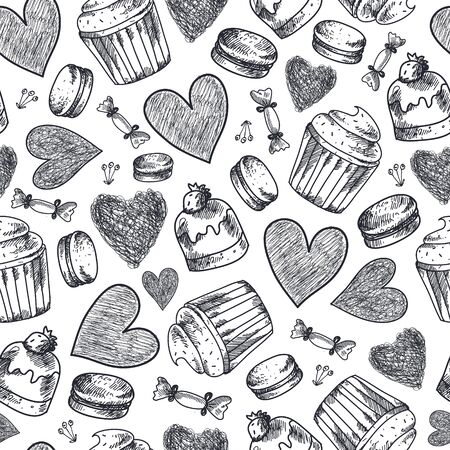 Vector seamless cupcakes, sweets, macaroons, hearts hand drawn pattern. Black and white vintage doodle