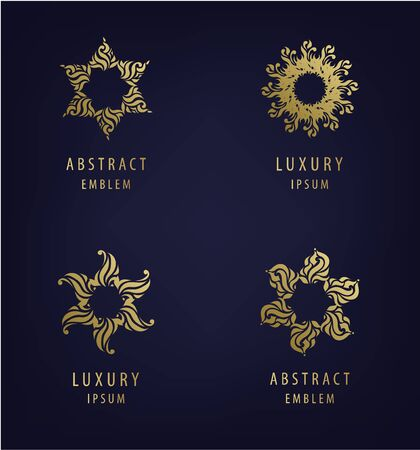 Vector set of abstract modern   design templates in golden colors, arabic motifs. Luxury, jewelry concepts for exclusive services and products, beauty and spa industry Çizim