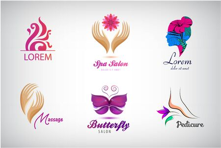 Vector set beauty salon  ,   spa icons. Labels and badges for healthy life and wellness business. Vector illustrations for graphic and web design, for cosmetics, natural products