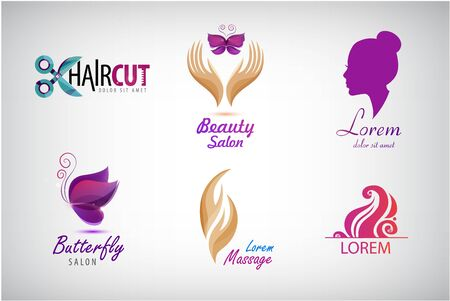 Vector set beauty salon  ,   spa icons. Labels and badges for healthy life and wellness business. Vector illustrations for graphic and web design, for cosmetics, natural