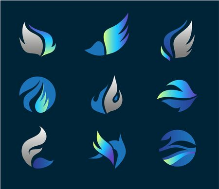 Vector wings   set, abstract flowing icons. Winged company  , flying brands