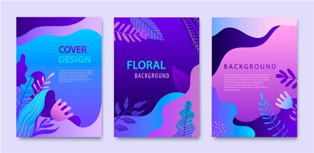 Vector Set of nature covers, brochure, annual report design templates for beauty, spa, wellness, natural products, cosmetics, fashion, healthcare. Purple plants, waves dynamic 向量圖像
