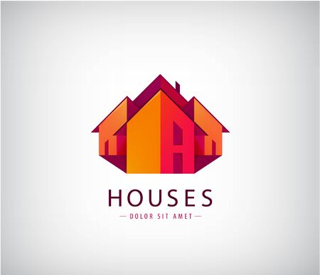 Vector roof logos, house building, real estate icon. Colorful geometric architecture illustration, poster Logo