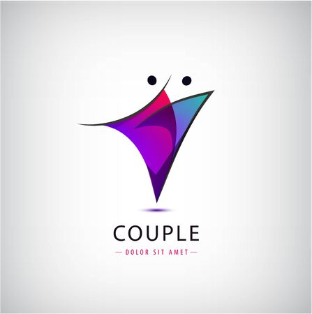 Vector figure line silhouette logo, human and dancing sign. Couple dynamic abstract illustration, 2 person. Stylized people