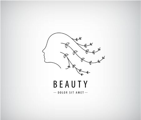 Vector linear beauty logo, woman face with hair - branches with leaves. Design concept for beauty salon, massage, cosmetic and spa Logo