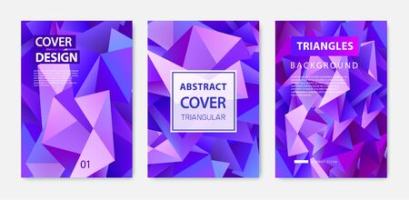 Vector covers templates set with graphic geometric elements, facet abstract posters, brochures, banners. Ilustración de vector