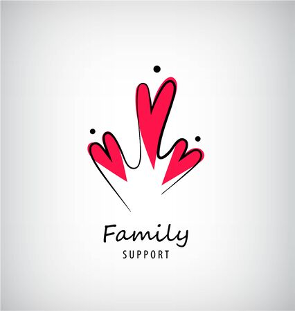 Vector family of 3 care template, people with heart shapes icon. Healthcare, support