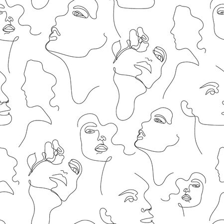 Vector one line drawing women faces seamless pattern, black and white. Fashion poster, minimalistic style. Female Portrait Endless Background. t-shirt print.
