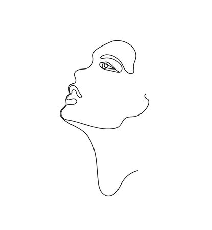 Vector hand drawn linear art, woman face, continuous line, fashion concept, feminine beauty minimalist. Print, illustration for t-shirt, design,  for cosmetics, etc.