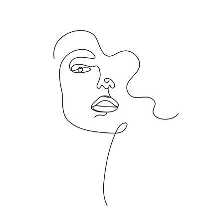 Art linéaire dessiné à la main de vecteur, visage de femme, ligne continue, concept de mode, minimaliste de beauté féminine. Impression, illustration pour t-shirt, design, pour les cosmétiques, etc. Vecteurs