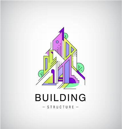 Vector colorful buildings, urban skyline  , flat style with lines construction. Illustration, design template modern building in abstract way.   structure, architecture