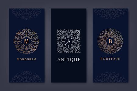Vector set of  design templates, brochures, flyers, packaging design in trendy linear style with flowers and leaves. Use for luxury products, wedding invitations, organic cosmetics, wine packaging 向量圖像