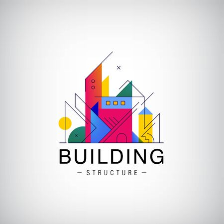 Vector multicolor real estate  design for business visual identity, building, cityscape icons, houses, architecture construction. Flat linear style 向量圖像