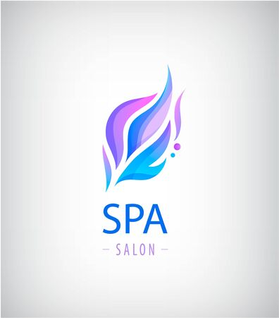 Vector abstract wavy  , spa salon, nature icon isolated. Identity. Spa floral organic, eco sign