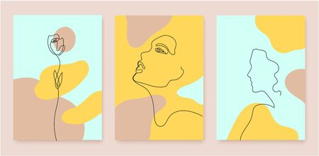 Vector set of abstract beauty and fashion linear covers, posters, banners, flyers with linear continuous line woman portrait, flowers. Art, illustration with wavy flow background. Pastel colors 向量圖像