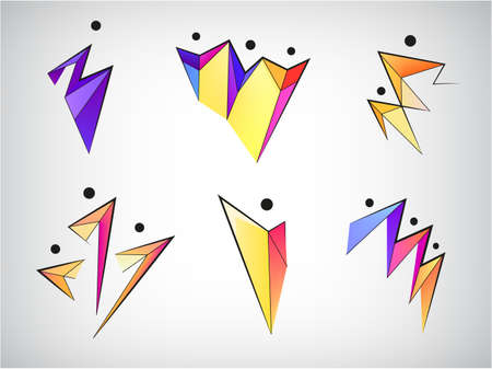 Vector set of figure line silhouette  human men sport signs. Geometric origami abstract stylized people body, social relationship, family, communication web