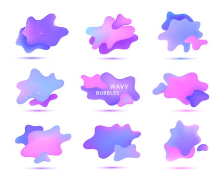 Vector 3d gradient spots, fluid bubbles isolated. Abstract elements for trendy vibrant color design.