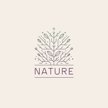 Vector geometric tree, floral, nature line. Organic abstract plant