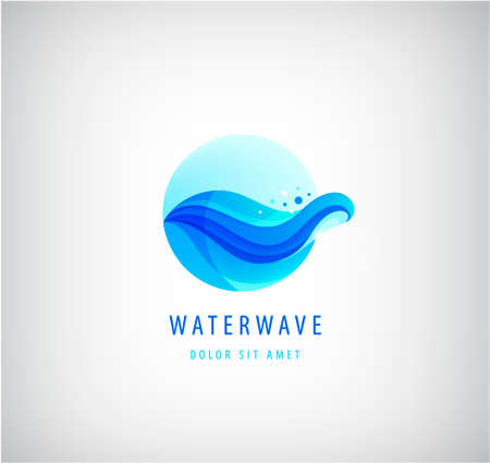 Vector wavy blue water wave 3d gradient icon. Ocean 向量圖像