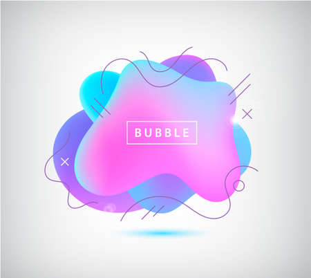 Vector 3d gradient spot, bubble with wavy lines. Abstract element for trendy vibrant color design.