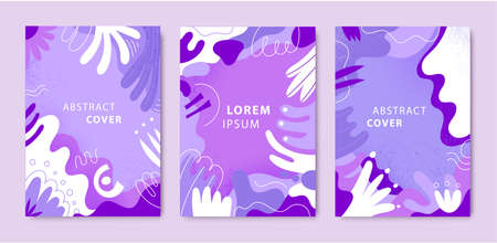 Vector set of abstract creative cards, covers with different shapes and textures. Modern graphic collage design. Design for poster, invitation, cover, placard, brochure, flyer