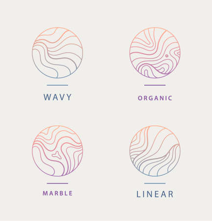 Vector set of abstract wavy minimal organic   Marble line emblem for business, badge, print, icon gradient. Nature, landscape, meditation, spa, cosmetics etc.